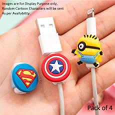 Cable Protector Beads with Silicon Made Cartoon/Superhero Shape on Top. Premium Quality (Random Shape) (Pack of 4)
