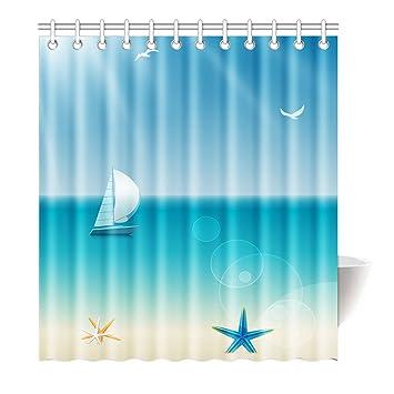 Violetpos Duschvorhang Segelboot Sky Meer Blau Hochwertige Qualität  Badezimmer 120 X 180 Cm: Amazon.de: Küche U0026 Haushalt