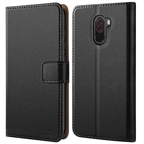 HOOMIL Handyhülle für Xiaomi Pocophone F1 Hülle, Premium Leder Flip Schutzhülle für Xiaomi Pocophone F1 Tasche, Schwarz