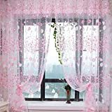 Small Flower Tulle Voile Door Window Curtain Pink Drape Panel Sheer Scarf Valances For Bedroom Bathroom Living Room Children's Room