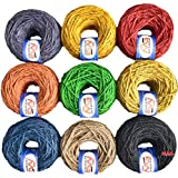 M.G ENTERPRISE Jute Combo Colour Exclusive Twine Ball Threads String Rope 3 Ply 225 m (9 Colours / 25 m Each) for Creative Decoration by M.G Enterprise