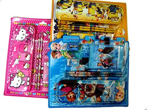 Art box assorted gift pack of 3 Geometry gift set with /pencil/sharpner/eraser/wallet of different characters  available at amazon for Rs.400