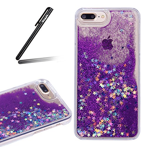 Paillette Coque pour iPhone 7 Plus, iPhone 7 Plus Plastique Etui Transparent étoile Housse Coque Hard, iPhone 7 Plus Dual Layer Plastic Liquide Coque Bling Flash Etui Plastic Case Cover, Ukayfe étui d étoiles Glitter-Deep Purple