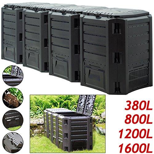 Komposter  380L  Weitere Größen: 800L - 1200L - 1600L  Einzelmodul: 72 x 72 x 83cm  witterungsbeständig  Deckel klappbar | Gartenkomposter