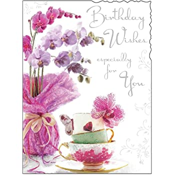 Pink Flowers Birthday Card JJ8856