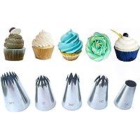 Phantom Sky Lot de 5 Grandes Douilles de décoration en Acier Inoxydable pour gâteaux/Cupcakes/Biscuits/pâte à Sucre