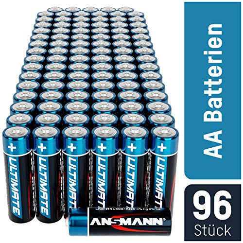 ANSMANN Batterien AA Mignon Alkaline 96Stück Vorratspack - LR6 Alkali Batterie - Universal und Leistungsstark - umweltschonende Verpackung -