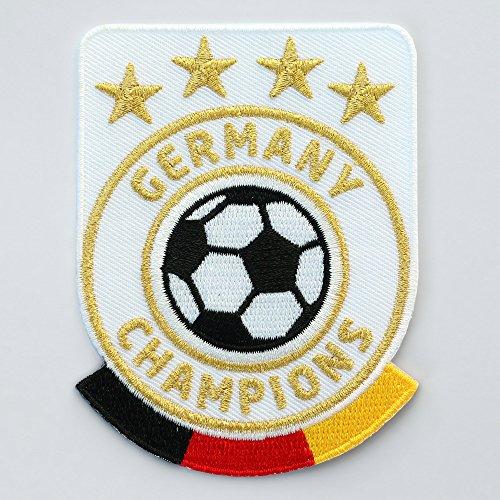 2 x Fussball Abzeichen gestickt 86 x 65 mm weiss / Germany Champions / Gold Stickerei Aufbügler Aufnäher Wappen Patch Sticker für Trikot Dress Kleidung / Fußball National Mannschaft Team Meister Fan -