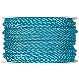 Halbach Seidenbänder Kordel Uni Acetat Dekoschnur Dekokordel 4mm x 25m, Farbe:türkis