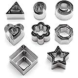 Mini-uitsteekvormpjes van roestvrij staal, 24 stuks geometrische koekjes uitsteekvormen set, doe-het-zelf gereedschap voor he