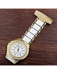 ShopyStore Gold 2016 New Luxury Crystal Gold Silver Fob Pocket Watch Analog Clip-On Hanging Brooch