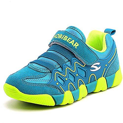 Junge Mädchen Sport Schuhe Low-Top Turnschuhe Hallenschuhe Laufschuhe Trekking Wander Sneaker Kinder Outdoor Straßen Freizeit Shoes, Grün 26EU