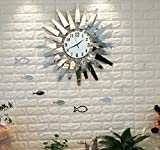 Sunjun Wanduhr Kreativ-Trend Wohnzimmer Wanduhr Metall Glas kreative Kunst Uhren Einfache Mode Wanduhr Moderne europäische stumme hängende Tabelle Quarz Uhr Silber weiß