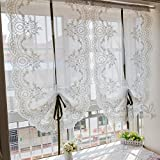 Silk Road Stickerei Römischen Blind Kann Tüll Vorhänge für Wohnzimmer Erker Dekorative Draperies-White 60 x 260 cm (24 x 102 cm)