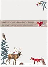 Briefpapier Set edel mit Umschlägen, 10 Seiten DIN A4 mi Tieren im Wald, Natur, Nostalgie, Retro, cremefarben, Weihnachtswald