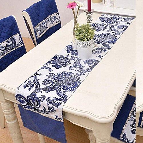 LDONGPENG LD&P Fashion Lace Beistelltisch Flagge Couchtisch Tischläufer Baumwolle und Flachs Print Tischläufer Home Desktop Dekoration,Blue,32 * 180cm(Sharp Corners)