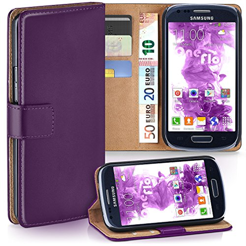 Samsung Galaxy S3 Mini Hülle Lila mit Karten-Fach [OneFlow 360° Book Klapp-Hülle] Handytasche Kunst-Leder Handyhülle für Samsung Galaxy S3 Mini S III Case Flip Cover Schutzhülle Tasche Galaxy S3 Handy Cover Leder