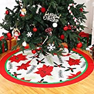 59 Inch Poinsettia Flower Christmas Tree Skirt Natural Burlap Xmas Tree Skirt Red Flower Pattern Xmas Tree Ski