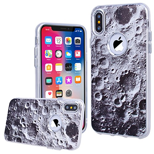 WE LOVE CASE Coque iPhone X, Souple Gel Coque iPhone X Silicone Motif Fine Coque Girly Resistante, Coque de Protection Bumper Officielle Coque Apple iPhone X Chien Lune