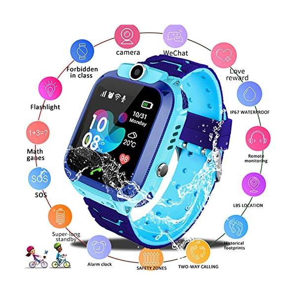 Localizador GPS Niños, Reloj GPS Niños Localizador Con SOS Anti-Lost Alarm Para Tarjeta Pantalla Táctil Smartwatch Para… 2