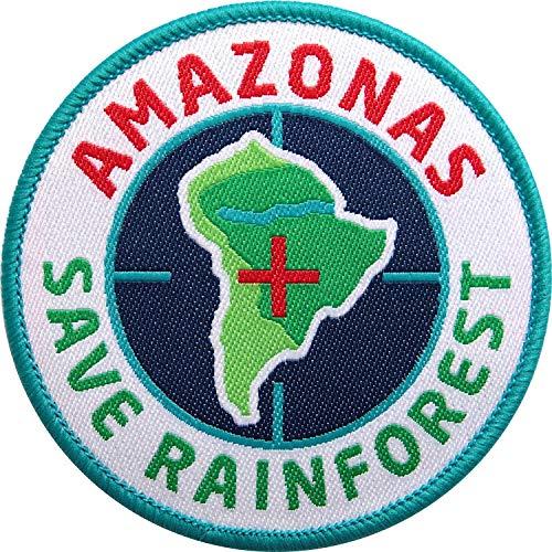 Club of Heroes 2 x Amazonas Abzeichen gewebt 67 mm/Rettet den Regenwald Urwald Wald Klima Artenschutz Amazonien Brasilien/Aufnäher Aufbügler Flicken Sticker Patch/Ecuador Peru Reiseführer