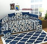 #4: Aerohaven 3D TC Printed 8Pc Diwan Set(1 Single Bedsheet, 2 Bolster Covers, 5 Cushion Covers)