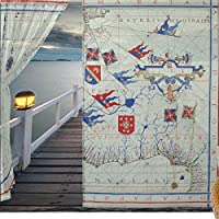 jstel 2pezzi Voile tenda di finestra, Vintage Mappa Impero Britannico XVI secolo Timel, Tulle Sheer Curtain Drape Valance 139,7x 198,1cm Set di due pannelli, Poliestere, Blue,