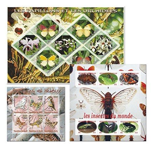 Insekten Schmetterlinge und Blumen Sammler Art Briefmarke mit 19 Briefmarken mehr als 3 Blätter Minze gesetzt -