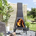La Hacienda Matrix 150cm High Black Steel Contemporary Chiminea Patio Heater by La Hacienda