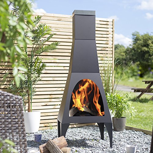 La Hacienda Matrix 150cm High Black Steel Contemporary Chiminea Patio Heater