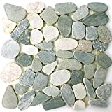 Flusskiesel Natursteinmosaik Geschnitten Grau Beige Weiss