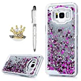 For Samsung Galaxy S8 Plus Case,Badalink Dynamic Flowing Liquid Glitter Sparkly Bling Glitter Stars Fantasy Shiny Case Cover Transparent Plastic 3D Glitter Quicksand Liquid Case for Samsung Galaxy S8 Plus(Silver)