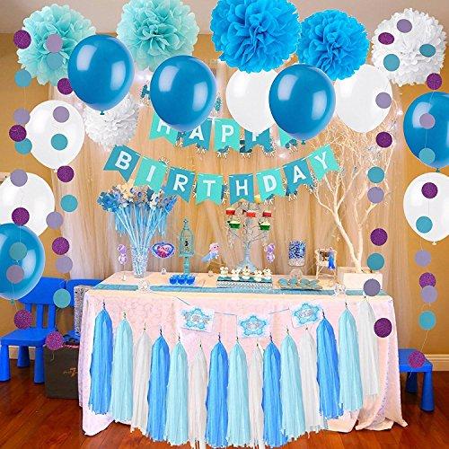 Newland 46 papel de seda de las PC 9 pompones Pom Poms guirnalda de 15 borlas 20 globos del látex guirnalda del papel de 2 puntos para el cumpleaños el casarse la fiesta de bienvenida al bebé los partidos las decoraciones principales las decoraciones del partido (Azul)