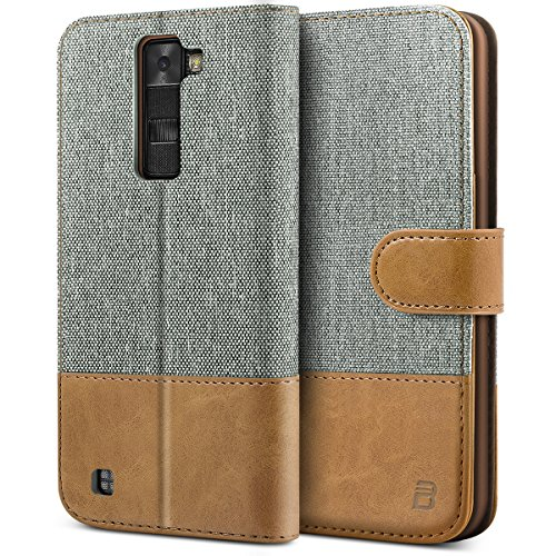 BEZ® LG K8 Hülle, Handyhülle Kompatibel für LG K8, Handytasche Schutzhülle Tasche Flip Case [Stoff BEZ®ug und PU Leder] mit Kreditkartenhaltern, Grau