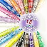 Acrylstifte Marker Stifte Set 18 Farben Acrylfarben Marker Art Filzstifte für Steinmalerei, Glas, Holz, Leinwand, Papierdekoration, DIY Handwerk, Geburtstagskarte, Weinachtsgeschenke