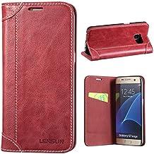 """Coque Galaxy S7 Edge, Lensun Housse étui Cuir Portefeuille avec Horizontale Rangements de Cartes et Fermeture Aimanté, pour Samsung Galaxy S7 Edge 5.5"""" - Vin Rouge (S7E-DX-WR)"""