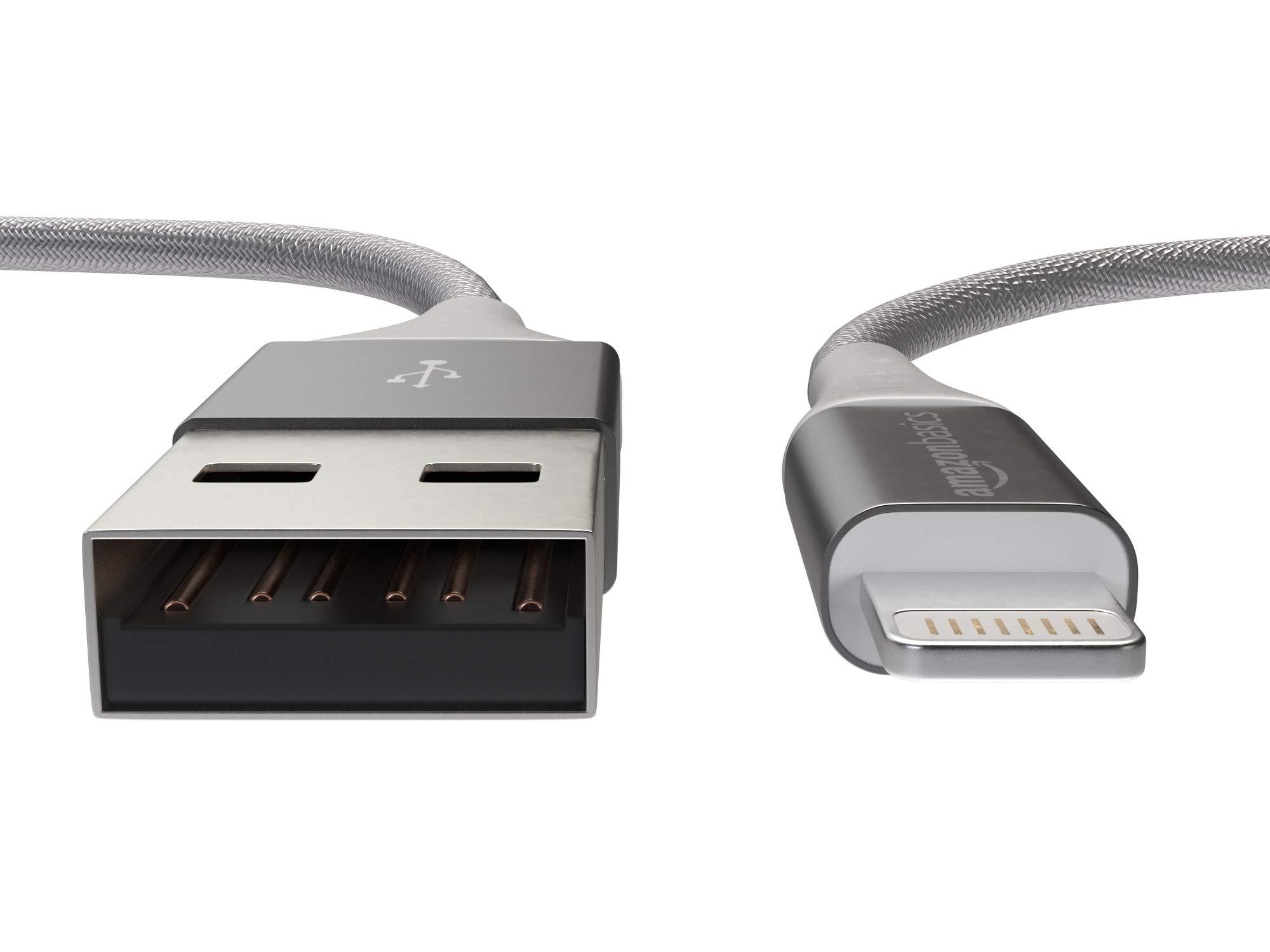 AmazonBasics-USB-A-auf-Lightning-Kabel-mit-doppelt-geflochtenem-Nylon-Apple-MFi-zertifiziert-Silberfarben-3-Meters