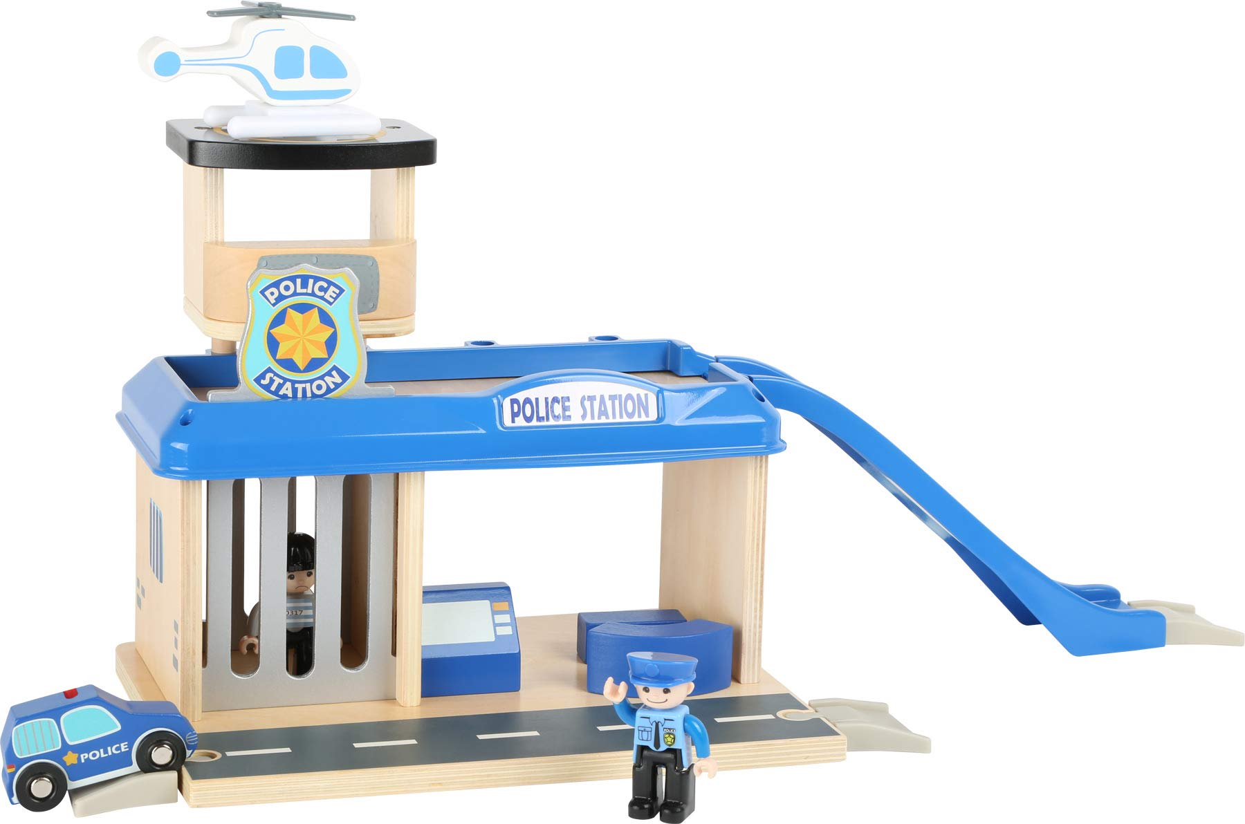 small foot 10797 Police station with accessories, including a policeman, robber, helicopter and car, from 3 years Small Foot World An impressive police station in a strong, vivid police blue Many extras like a policeman, a robber, a car and a helicopter Compatible with all common railway brands 2