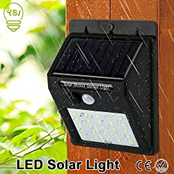 HOME CUBE 25 LED Solar Wall Light Outdoor LED Lights Waterproof IP65 Wireless PIR Motion Sensor Solar Powered Garden Lamp - Black Color
