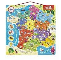 Carte de France avec les 13 nouvelles régions françaises en vigueur suite à la réforme territoriale. Le tour de France en 93 magnets. Sur chaque magnet figurent le numéro et le nom du département, le chef-lieu et une illustration d''une spécialité l