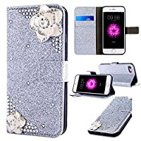 iPhone 5S Wallet Case,Flip PU Leather Case with Stand for iPhone 5S/SE,Luxury Cool Premium Scratch Resistant 3D Bling Sparkle Shiny Glitter Inlaid Diamond Floral Flowers Case for iPhone 5S/SE,Silver