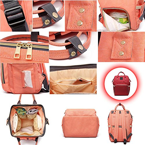 BOZEVON Multifunzione grande capacità borsa a tracolla borse mummia Fashion materna gravidanza Donna - Rosa arancione Rosso