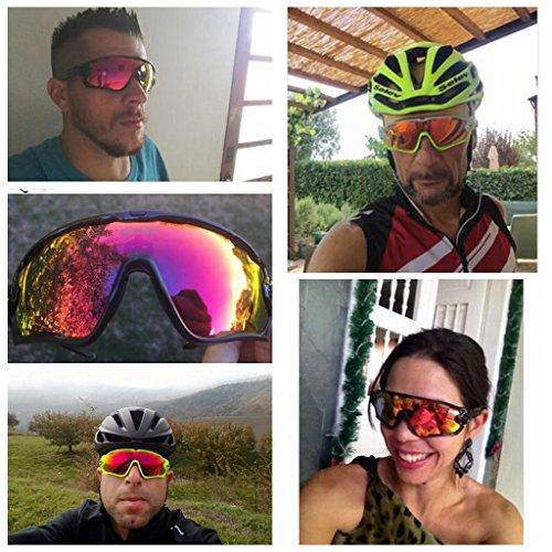 Queshark Fahrradbrille Sport Sonnenbrille für Herren und Damen Polarisierte, Sportbrille mit 3 Wechselobjektiven und Frauen Radsports - 7
