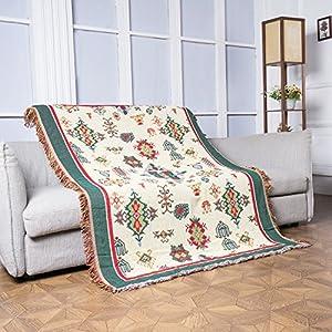 130x180cm Tejida Manta Suave grande de Sofá Cama para adultos, niños, mascotas y decoración en 100% algodón con antiestático y antipilling