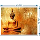 PPD Lord Buddha Canvas Paintings   The Golden Buddha - Buddhism - Tibetan Art   Large Size Unframed Rolled Canvas Art Print For Home , Living Room & Office Decor 37 Inch X 49 Inch High Res Cotton Canvas HD Print