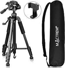 Kamera Stativ – MACTREM Reisestativ 151CM Fotostativ 5KG unterstützend mit 3-Wege-Kopf aus Aluminiumlegierung mit Rutschfestem Schaumstoffgriff kompatibel mit Canon/Nikon/DSLR/Handy usw(SCHWARZ)
