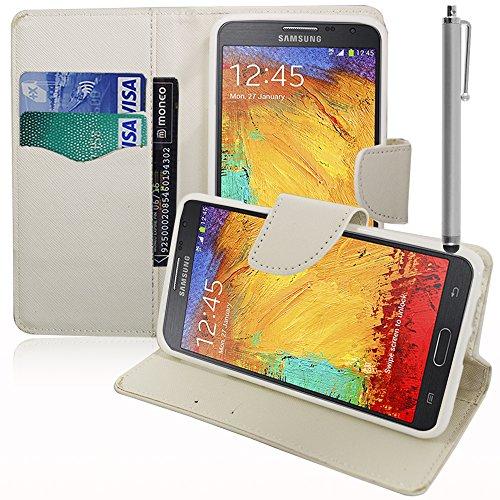 VComp-Shop® Kunststoff Handy Brieftasche mit Kartenfächer und Video-Standfunktion für Samsung Galaxy Note 3 Neo SM-N7505 + Großer Eingabestift + GRATIS Displayschutzfolie - WEISS