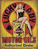 Desperate Enterprises Lucky Lady Motor Oil Pin Up Blechschild Flach 31x40cm S4269