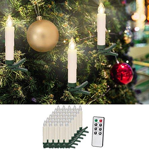 30 LED Weihnachtsbaumkerzen  mit Fernbedienung Warmweiß  Dimmfunktion  Weihnachtskerzen Weihnachtskdekoration  Kabellos  Timerfunktion Weihnachtsbaumbeleuchtung  Modellauswahl