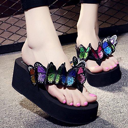FLYRCX Farfalla a mano pantofole ladies estate tacco di pendenza Beach casual flip flop a